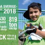 En glad deltagare i 2018 års Städa Sverige-insatser.